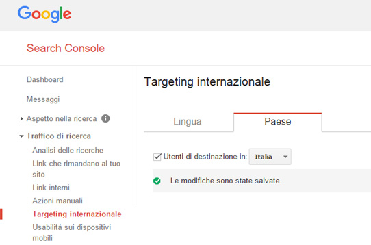 targeting internazionale google